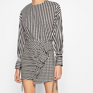 Zara Check Mini Skirt with ruffle in front